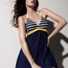 ชุดว่ายน้ำวันพีชพร้อมส่ง :ชุดว่ายน้ำสีน้ำเงินแต่งลายทางสีขาวคาดเหลือง .สายคล้องคอผูกโบว์แบบเก๋สีสันสดใส กางเกงใส่ด้านในน่ารักมากๆจ้า:รอบอก36-44นิ้ว เอว34-42นิ้ว สะโพก34-44นิ้ว