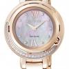 นาฬิกาข้อมือผู้หญิง Citizen Eco-Drive รุ่น EX1123-55D, Rose Gold Genuine Diamonds Sapphire Japan