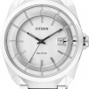 นาฬิกาผู้ชาย Citizen Eco-Drive รุ่น AW1010-57B, White Steel 50m Dress