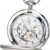 นาฬิกาพกพา Charles-Hubert รุ่น 3594, Mechanical Silver Tone