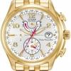 นาฬิกาข้อมือผู้หญิง Citizen Eco-Drive รุ่น FC0002-53A, Global Radio Controlled AT Sapphire World Time Gold Tone