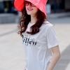 หมวกแฟชั่นพร้อมส่ง : หมวกปีกบานกว้างกันแดดสีชมพูบานเย็น พักเก็บง่ายแบบสวยน่ารักๆจ้า
