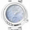 นาฬิกาข้อมือผู้หญิง Citizen Eco-Drive รุ่น EM0327-50D, Diamonds Sapphire Mother Of Pearl Elegant