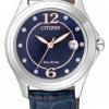 นาฬิกาข้อมือผู้หญิง Citizen Eco-Drive รุ่น FE1130-04L, Blue Swarovski Crystal Elegant Leather Watch