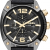 นาฬิกาผู้ชาย Diesel รุ่น DZ4375, Overflow Chronograph Black Dial Black Leather Men's Watch