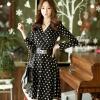 ((พร้อมส่ง)) เสื้อผ้าแฟชั่นผู้หญิง : เดรสสีดำลายจุด แขนยาว กระโปรงพริ้วๆ น่ารัก น่ารักจ้า