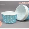 ถ้วยคัพเค้ก เคลือบมัน ม้วนขอบ สีฟ้า จุดขาว 5ซม ไต้หวัน
