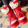 รองเท้าผ้าใบส้นสูงตกแต่งตุ๊กตาคิตตี้