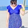 Swimsuit Bigsize พร้อมส่ง :ชุดสีน้ำเงินแต่งลายกราฟฟิกสีสันสดใสแบบเก๋ กางเกงขาสั้นใส่ด้านในน่ารักมากๆจ้า:รอบอก40-48นิ้ว เอว38-46นิ้ว สะโพก44-52นิ้วจ้า