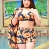 ชุดว่ายน้ำคนอ้วน พร้อมส่ง :ชุดว่ายน้ำไซส์ใหญ่สีน้ำเงินแต่งลายดอกไม้สีส้ม set 3ชิ้นมี บรา กางเกงขาสั้น และเสื้อคลุมเว้าไหล่แบบเก๋ น่ารักมากๆจ้า:รายละเอียดไซส์คลิกเลยจ้า