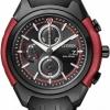 นาฬิกาข้อมือผู้ชาย Citizen Eco-Drive รุ่น CA0287-05E, All Black And Red HSTech Chronograph Watch