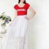 ((พร้อมส่ง)) เสื้อผ้าแฟชั่นผู้หญิง : เสื้อสีแดงแฟชั่น เสื้อสีแดงคลุมชุดสีขาว เก๋ เก๋ดีจ้า