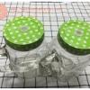 แก้วมัค mason jar มีหู ลายจุด สีเขียว