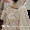 เสื้อผ้าแฟชั่นผู้หญิงพร้อมส่ง : เดรสสีครีมแฟชั่น แต่งผ้าโปร่งที่กระโปรง ผ้าพริ้วๆ น่ารักๆจ้า