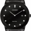 นาฬิกาข้อมือผู้ชาย Citizen Eco-Drive รุ่น AU1065-58G, Axiom Black IP Diamond Elegant