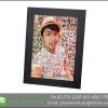 Mosaic Photo แบบ cell ใหญ่ ขนาด 20x30นิ้ว + กรอบไม้เส้น สีดำ เคลือบร้อน ลายผ้า