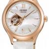 นาฬิกาข้อมือผู้หญิง Orient รุ่น SDB0A002W0, Open Heart Semi Skeleton Automatic White Leather