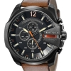 นาฬิกาผู้ชาย Diesel รุ่น DZ4343, Mega Chief Black Dial Brown Leather