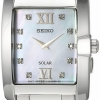 นาฬิกาผู้หญิง Seiko รุ่น SUP377, 10 diamonds Mother-of-pearl dial Solar Stainless Steel Women's Watch