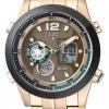 นาฬิกาข้อมือผู้ชาย Citizen Eco-Drive รุ่น JZ1002-56W, Promaster World Time Gold Tone Chronograph 100m
