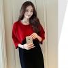 ชุดเดรสคลุมท้อง แฟชั่นเกาหลี แดง ดำ ผ้าหนา เรียบหรู M,L,XL,XXL