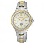 นาฬิกาผู้หญิง Seiko รุ่น SUT240, Solar MOP Diamond Two Tone Stainless Steel
