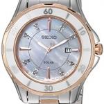 นาฬิกาผู้หญิง Seiko รุ่น SUT340, Solar MOP Diamond Dial Two Tone Stainless Steel