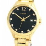 นาฬิกาผู้หญิง Citizen รุ่น EV0052-50E, Crystal Black Dial Stainless Steel Gold