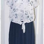 เดรส ผ้าต่อ เสื้อชีฟอง สีขาว พิมพ์ลาย เอวจั๊ม กระโปรง สีน้ำเงินกรมท่า