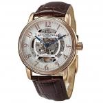 นาฬิกาผู้ชาย Stuhrling Original รุ่น 970.03, Automatic Self Wind Skeleton Brown Leather