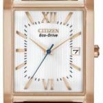 นาฬิกาข้อมือผู้ชาย Citizen Eco-Drive รุ่น BM6788-05A, Rose Gold Tone Brown Leather Gents Watch