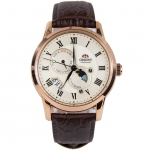 นาฬิกาผู้ชาย Orient รุ่น SAK00001Y0, Classic Automatic Sun And Moon Sapphire Rose Gold Men's Watch