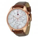 นาฬิกาผู้ชาย Tommy Hilfiger รุ่น 1791183, Corbin Multi-Function Silver Dial Brown Leather
