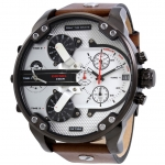 นาฬิกาผู้ชาย Diesel รุ่น DZ7394, Mr.Daddy 2.0 Chronograph Leather Silver Dial 4 Time Zone Men's Watch