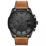 นาฬิกาผู้ชาย Diesel รุ่น DZ4463, Mega Chief Black Dial Brown Leather Strap Men's Watch