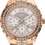 นาฬิกา Guess Model U0111L3, Multi Dial Sparkling Crystal Quartz Rose Gold Watch