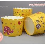 ถ้วยกระดาษ ถ้วยปาเน็ตโทน ขอบหยัก เล็ก เหลือง ช้าง กระต่าย