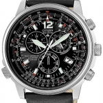 นาฬิกาข้อมือผู้ชาย Citizen Eco-Drive รุ่น AS4020-36E, Nighthawk Chronograph Euro Radio Sapphire Leather