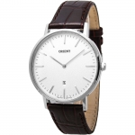 นาฬิกาผู้ชาย Orient รุ่น FGW05005W, Slim Collection Minimalist Leather Strap Quartz Men's Watch