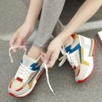 รองเท้าผ้าใบพื้นหนาผูกเชือกสีสดใส
