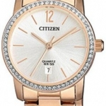 นาฬิกาผู้หญิง Citizen รุ่น EU6039-86A, Swarovski Crystals Rose Gold Quartz Women's Watch