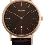 นาฬิกาผู้ชาย Orient รุ่น FGW05001T, Slim Collection Minimalist Leather Strap Quartz Men's Watch