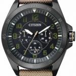 นาฬิกาข้อมือผู้ชาย Citizen Eco-Drive รุ่น BU2035-05E, Military Black IP Nylon Watch