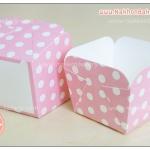 ถ้วยกระดาษ สี่เหลี่ยม ถ้วยเค้ก ชิฟฟ่อน ฮอกไกโด สีชมพู ลายจุด