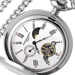 นาฬิกาพกพา Charles-Hubert รุ่น 3553W, Mechanical Sun-Moon Display