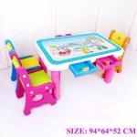 โต๊ะกิจกรรม 3 ที่นั่ง สีชมพู