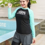 ชุดว่ายน้ำคนอ้วน แบบสปอร์ตพร้อมส่ง :ชุดว่ายน้ำไซส์ใหญ่สีดำเขียวมินท์แขนยาว set 3 ชิ้น มีเสื้อแขนยาว บราและกางเกงขายาวติดกางเกงขาสั้น แบบสวยคุ้มสุดๆจ้า:เสื้อแขนยาวรอบอก40-46นิ้ว บรารอบอก36-44นิ้ว กางเกงขายาวติดกางเกงขาสั้น เอว30-40นิ้ว สะโพก40-48นิ้วจ้า