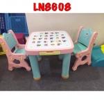 โต๊ะกิจกรรมเด็ก 2 ที่นั่ง สีพาทเทล ฟ้า-ชมพู