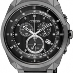 นาฬิกาผู้ชาย Citizen Eco-Drive รุ่น AT2155-58E, Black Ion Chronograph 50m Tachymeter