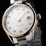 นาฬิกาผู้หญิง Tag Heuer รุ่น WAR1352.BD0779, Carrera Quartz Rose Gold & Diamonds 100 M - ∅32 Mm Ladies Watch
